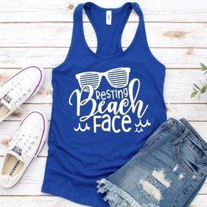 Tops - Funny T-shirt Blue T-shirt tank top